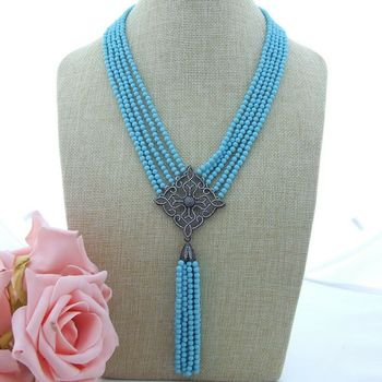 19'' 5 Strands 4MM Blue Round Turquoise Necklace Zircon Pendant