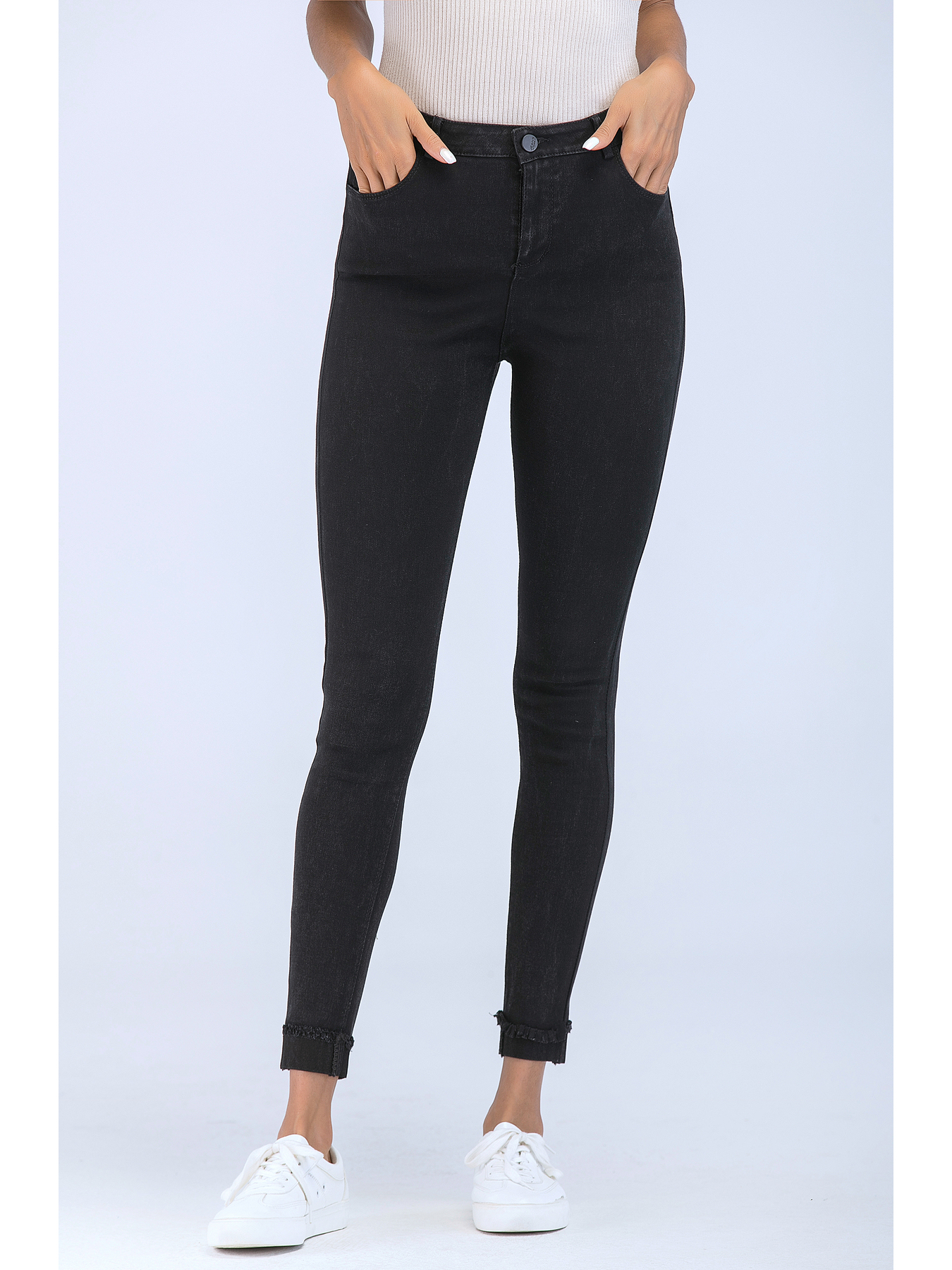 Womens Black Stretch Jeans Skinny Fit 2019 Katomi High Waist Casual Style