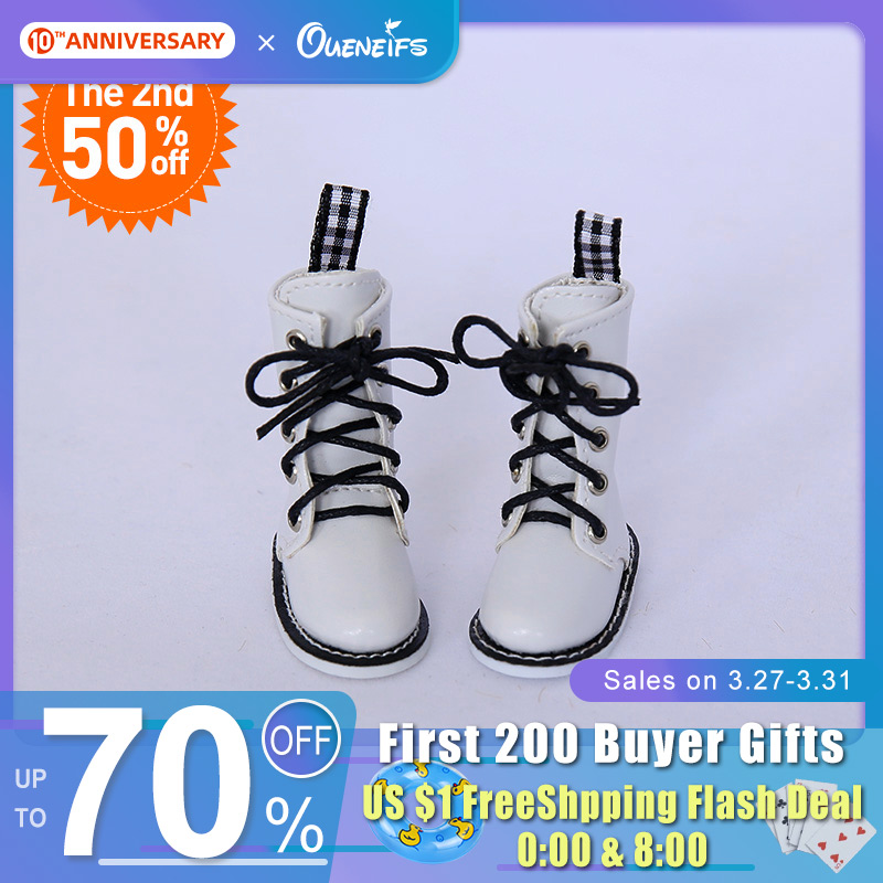 Free Shipping BJD Shoes 1/6 White High Casual Boots For Lillycat Yosd BJD Dolls WX6-39 Length 5.2cm Width 2.5cm Doll Accessories
