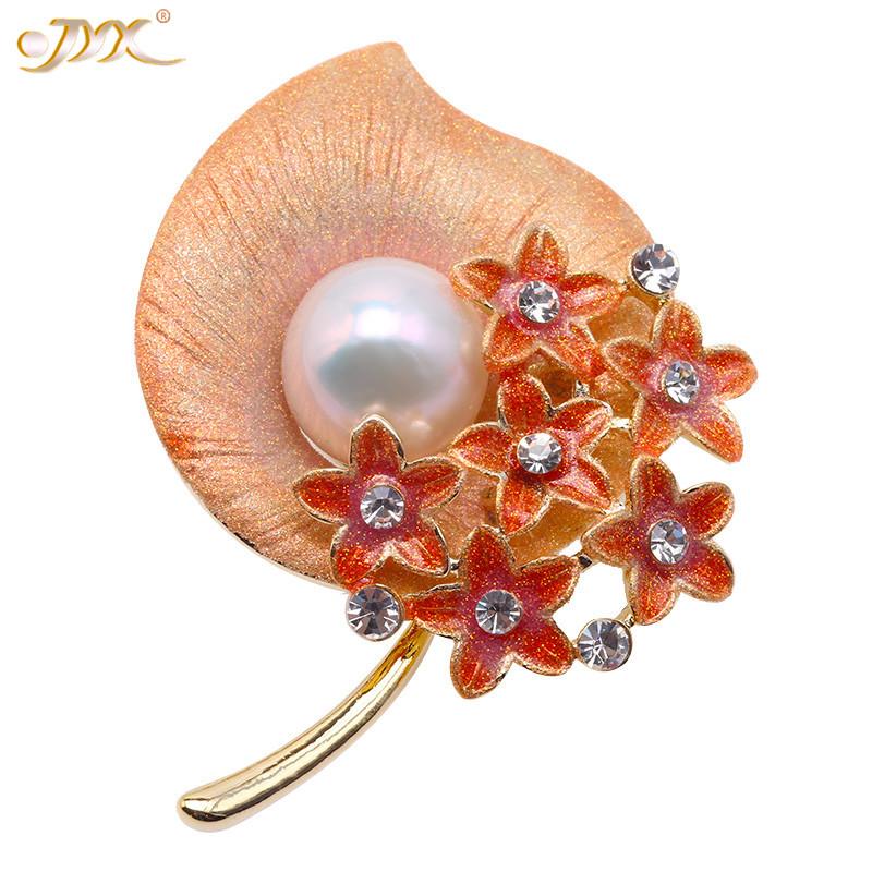 JYX Charming Enamel Flower Brooch Pearl pins Big 13.5mm natural Edison pearls 2 wearing way jewelry gift