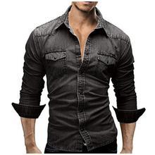 Denim Shirt Men  Male Denim Shirt Retro Men Shirt Long Sleeve Brand Casual  Camisa Hombre M-XXXL Laipelar long sleeve patch design suede insert denim shirt