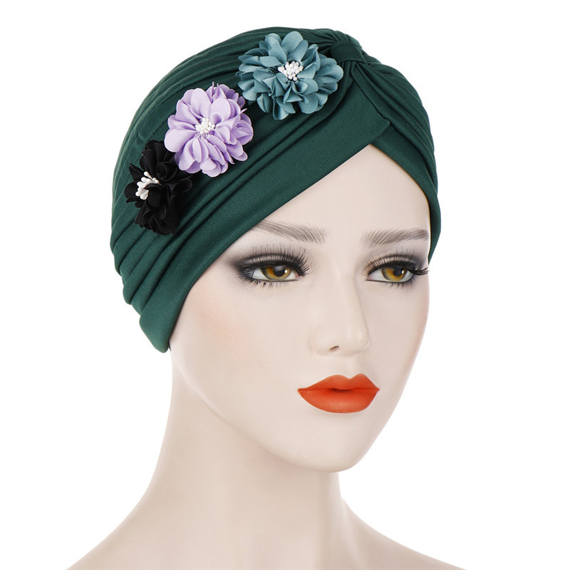 Fashion Flowers Turban Caps Crinkle Inner Hijab Indian Hat Solid Cotton Muslim Headdress Underscarf Cap Hijab Bonnet For Women