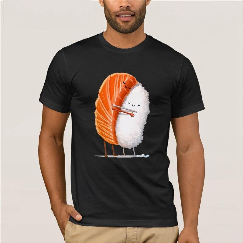 Summer Mens T Shirt Cute Salmon Hug Rice Sushi Funny Women Summer New White Kawaii Femme Hot Men's Fun Casual Print T-shirt