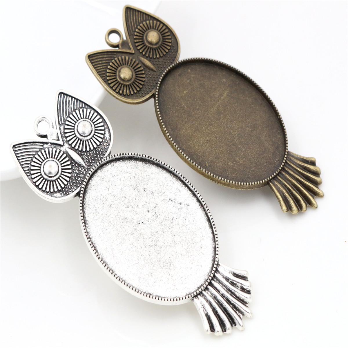 5pcs/lot 30x40mm Inner Size Antique Silver Plated And Bronze Owl Style Cabochon Base Setting Charms Pendant Diy Findings