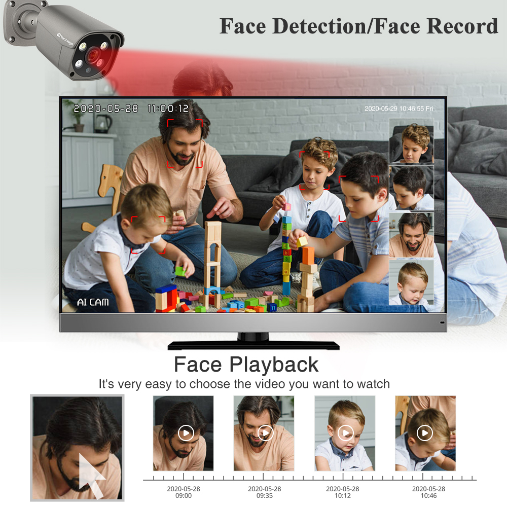 Techage 8CH 5MP HD POE NVR Kit CCTV Security System Two Way Audio AI Face Detect IP Camera Outdoor Video Surveillance Camera Set-1