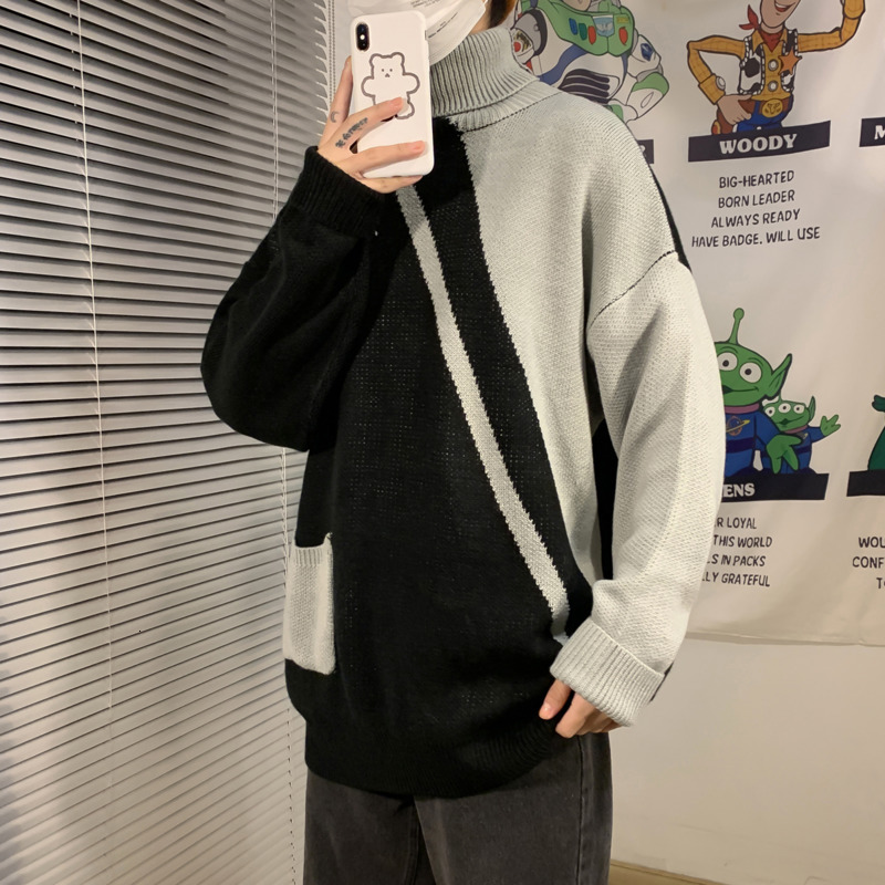Winter Turtleneck Sweater Men Warm Fashion Contrast Color Casual Knit Pullover Mens Loose Knitting Sweaters Male Sweter Clothes