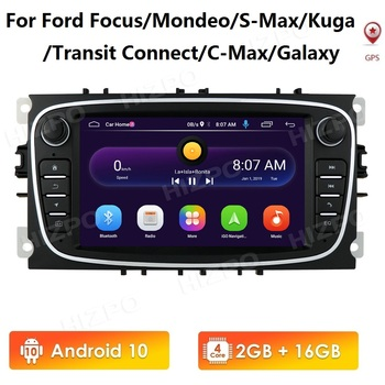 Android 10 Car Radio 2 Din Multimedia Player 7'' Audio DVD Player for Ford Focus S-Max Mondeo 2007-2012 Galaxy C-Max GPS No Dvd image