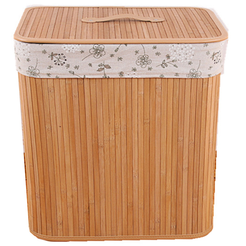 Bamboo Clothes Basket Creative Folding with Cover Dirty Clothes Storage Basket for Cloth Storage Box