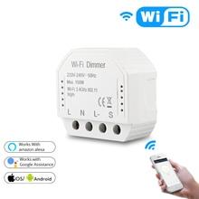 Tuya diy wifi led dimmer luz interruptor universal vida inteligente/seu aplicativo de controle remoto 1/2 vias interruptor funciona com alexa google casa