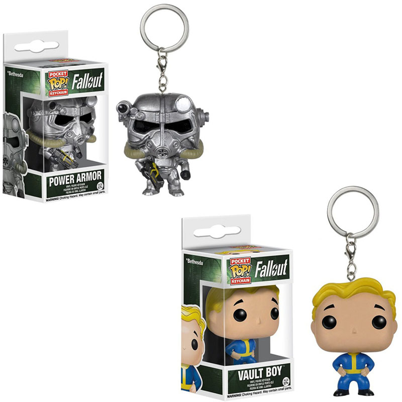 FUNKO POP Fallout 4 Vault Boy Power Armor Pocket Keychain Vinyl Dolls Figure Toys For Kids Birthday Gift