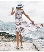 2018 New Women Summer V Neck Vintage Boho Long Maxi Floral National Chiffon Dress Party Beach Dress Floral Sundress #42