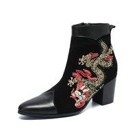 genuine leather Men Boots Short Ankle Dress Boots Black Suede Embroidery with Totem Zip Gentleman Boots Men party Botas Homb