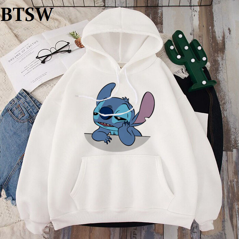 Women's Hoodie LILO STITCH Summer White Harajuku Kawaii Hoodies Lovely Cartoon Casual Hoody Cute Slim Casual Tops For Girls