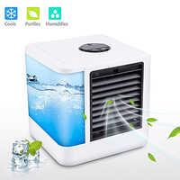 7 colores Mini portátil aire acondicionado humidificador purificador USB aire luz fría escritorio refrigerador de aire ventilador para la oficina en casa