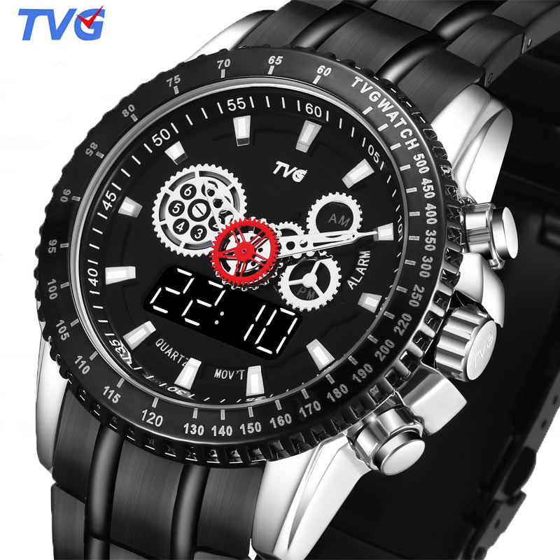 Digital-Watch Double-Display Mens Full-Steel New-Fashion Relogio TVG Masculino LED Sport