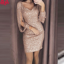 2019 New Fashion Sexy Women V Ncek Solid Sequined Glitter Stitching Shining Club Sheath Long Sleeved