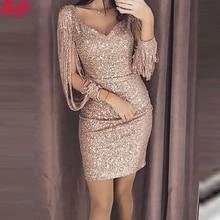2019 New Fashion Sexy Women V Ncek Solid Sequined Glitter Stitching Shining Club