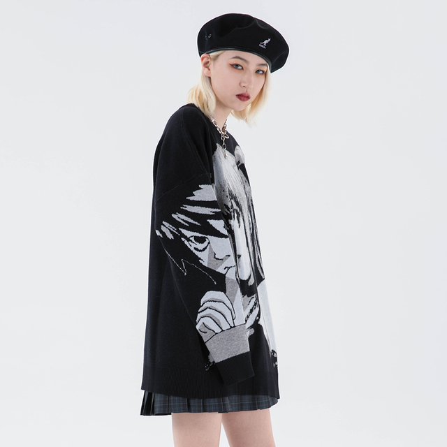 Knitted Harajuku Winter Clothes Women 2020 Oversized Sweaters Long Sleeve Top Gothic Fashion Japanese Kawaii Cartoon Streetwear 3