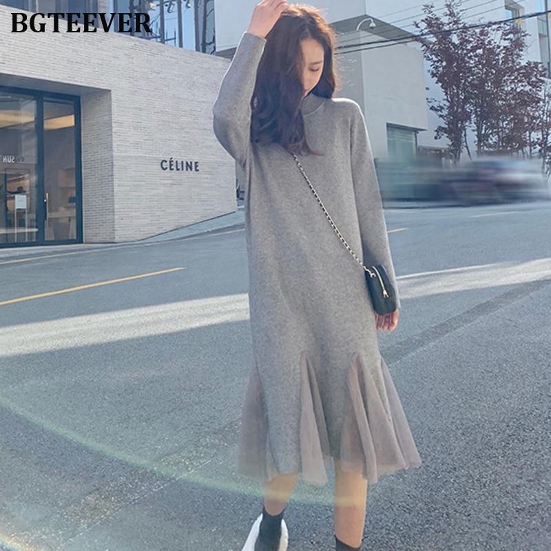 Autumn Winter Women Sweater Dress Turtleneck Full Sleeve Slim Stretch Vestidos Femme Side Split Midi Female Knitted Dress 2019