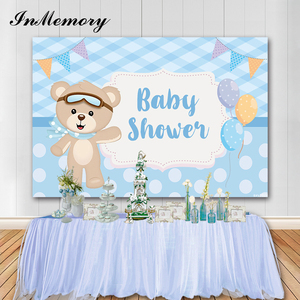 InMemory Blue Theme Boys Baby Shower Backgrounds For Photo Studio Bear Balloons Newborn Boy Birthday Party Backdrop Photophone