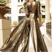 glitter Wide Legs Of Flash Gold rompers womens jumpsuit macacao feminino bodysuit women body mujer sexy costumes streetwear 2019