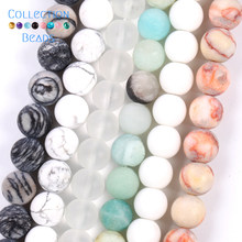 Natural Stone Matte Crystal Quartzs Amazonite Howlite Turquoises Web Jaspers Round Beads For Jewelry Making DIY Bracelets