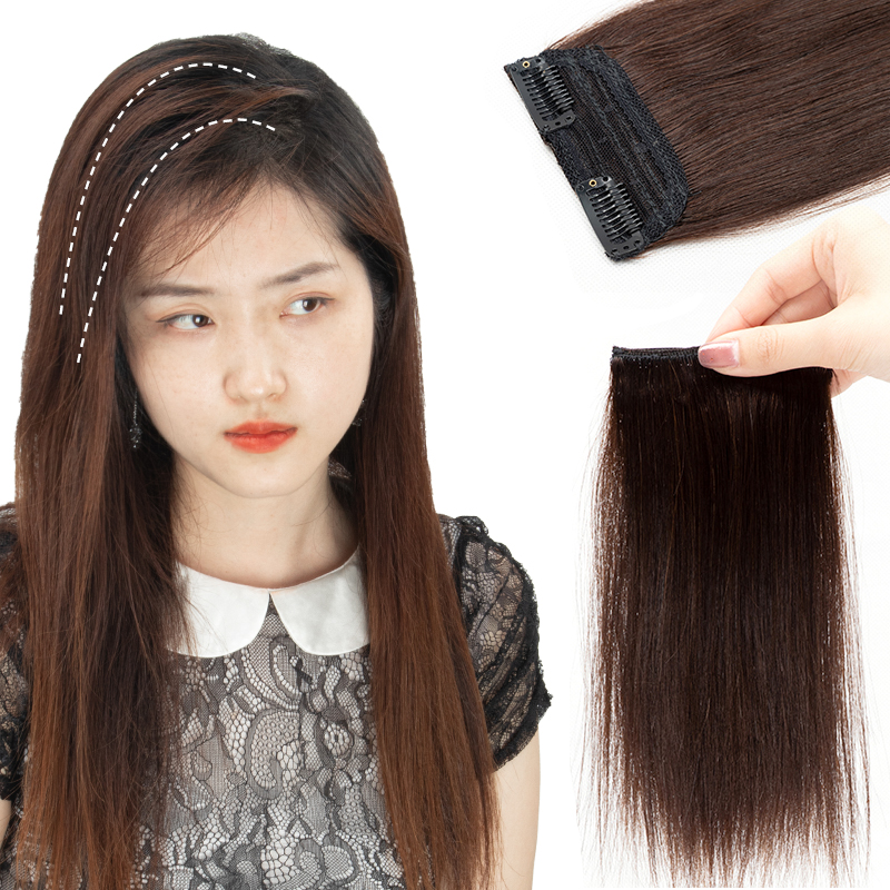 Mrshair Clip In Hair Side Piece Clip In Human Hair Extensions For Short Hair Add Top/Side Volume 10-25cm NonRemy Natural Hair