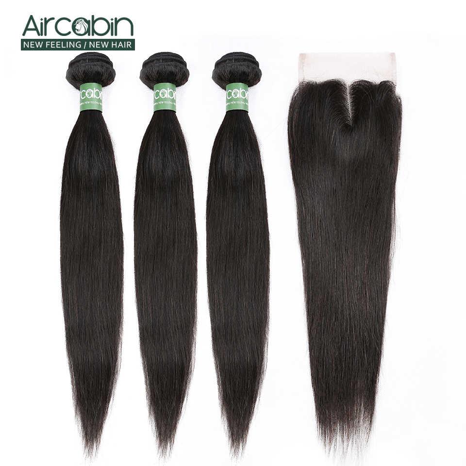 Braziliaanse Straight Bundels Met Sluiting Aircabin 100% Remy Human Hair Weave Bundels Extensions Zwitserse 4X4 Kant Frontale Diepe deel