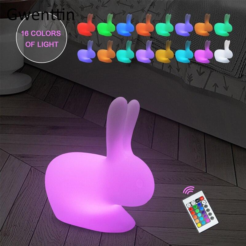 cor rgb pequeno coelho casa decoracao luzes da noite led controle remoto cama quarto lampadas de