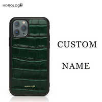 Horologii CUSTOM NAME Luxery phone Italian Croco Pattern Leather Phone Case for Iphone 11 Pro Max Case color