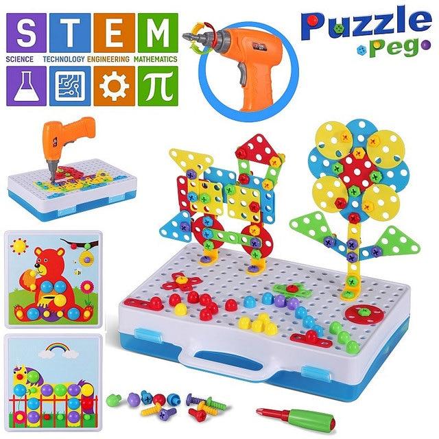 Ensemble de perceuses pour enfants 15 styles, jouets assemblés bricolage, outils éducatifs, perceuse électrique Puzzle écrou à vis démontage tige, jouets pour garçons cadeaux