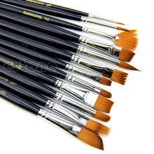 12Pcs Nylon Hair Acrylic Oil Painting Watercolor Artist Paint Brush Supplies Set недорого