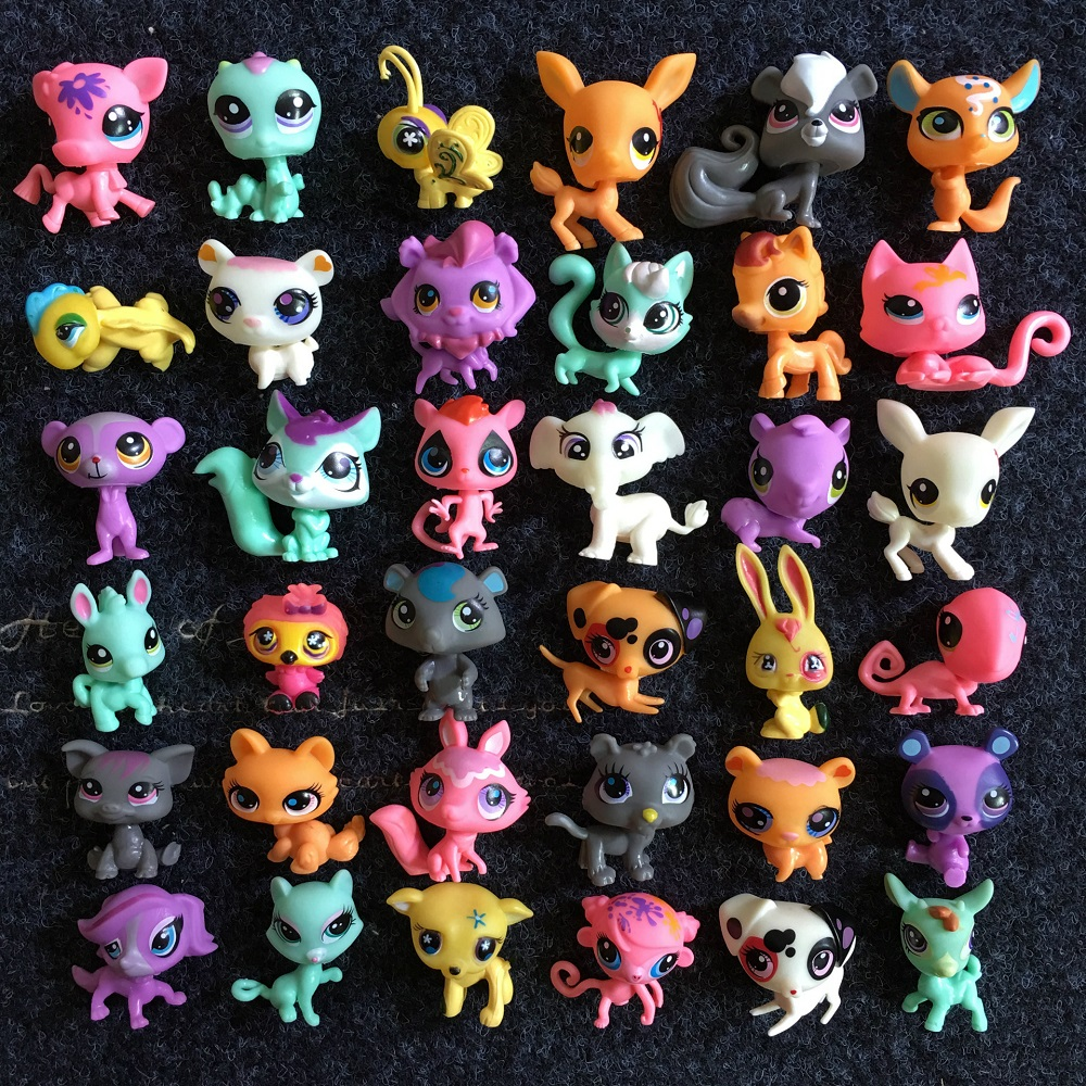20pcs/lot Pet Shop Lps Toy Standing Short Hair Cat Original Kitten Husky Puppy Dog Limited Collection Kids Girls Birthday Gift