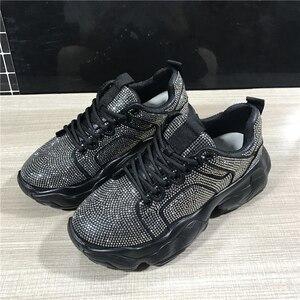 Image 2 - 2019 ฤดูใบไม้ร่วงแพลตฟอร์มคริสตัลรองเท้าผ้าใบผู้หญิงรองเท้าแฟชั่น Lace Up สุภาพสตรีรองเท้าผ้าใบรองเท้าผ้าใบ Blingbling Rhinestone รองเท้า