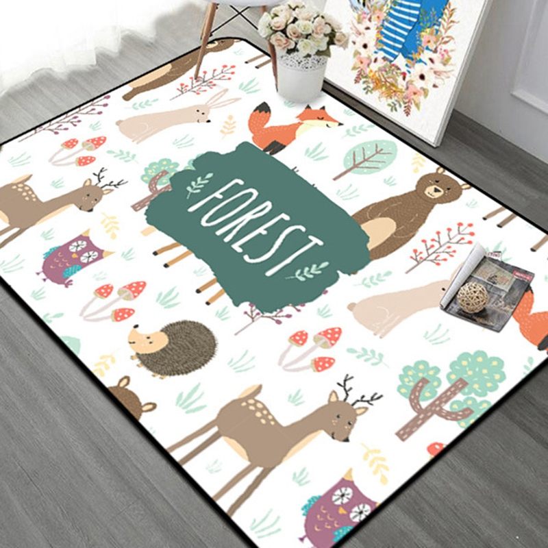 Forest Children Carpet Nordic Style Kids Area Rugs For Living Room Children's Room Play Crawling Floor Mat Christmas Rugs