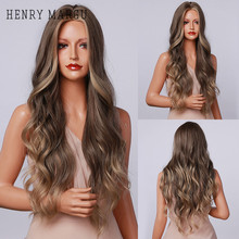 HENRY MARGU Highlight Brown Ash Blonde Wavy Wigs for Women Long Synthetic Natural Wigs Middle Part Cosplay Wigs Heat Resistant