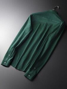 Image 3 - Minglu camisas de algodón verde para hombre, camisas de manga larga a la moda, de talla grande 4xl, ajustadas