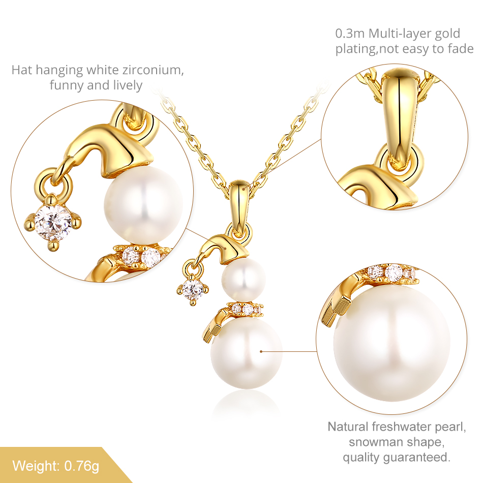 ALLNOEL Pendent Necklace Real Yellow Gold Color 925 Sterling Silver Natural Freshwater Pearl Snowman Fine jewelry Gift For Women (6)