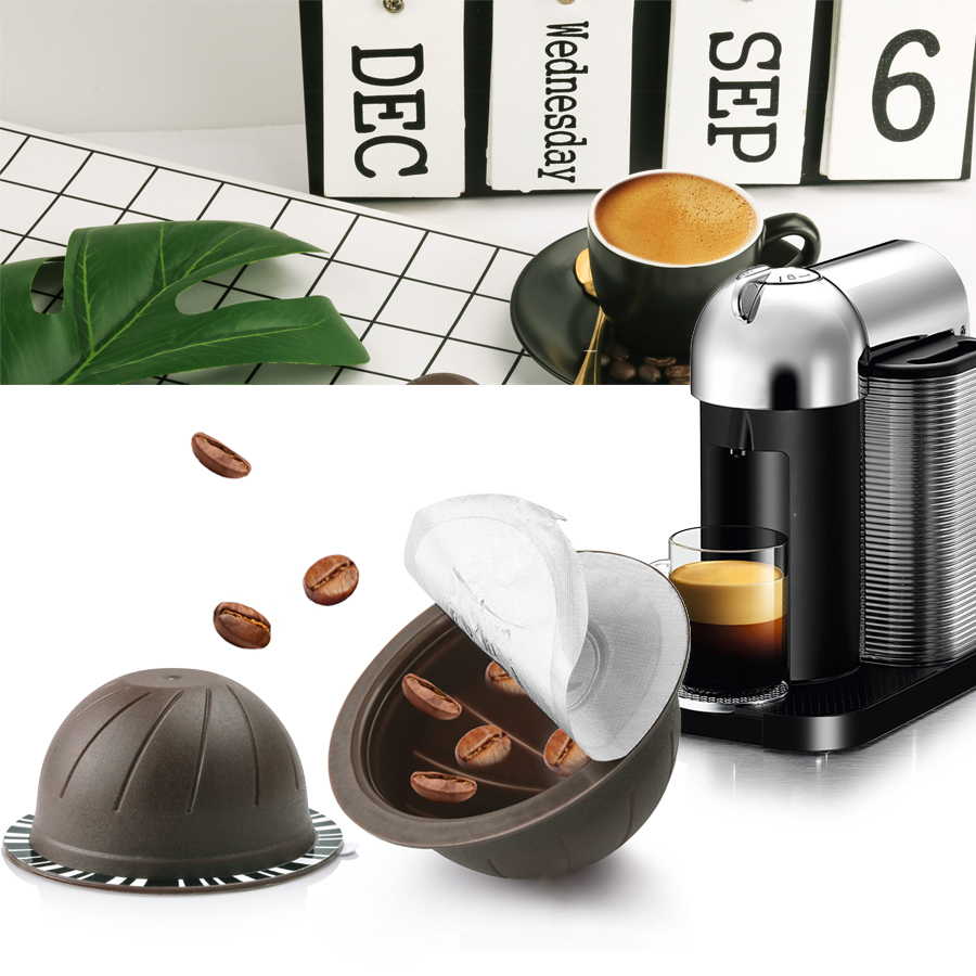 Reusable Compatible With Nespresso Vertuo Coffee Capsule 150ml Refillable  Vertuoline Coffee Filter Machine Disposable Foils