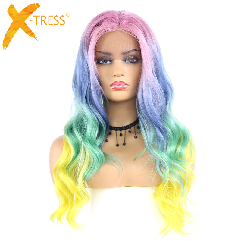 Ombre Pink Green Color Lace Front Synthetic Hair Wigs Side Part X-TRESS Long Body Wave Colorful Cosplay Lace Wig For Black Women