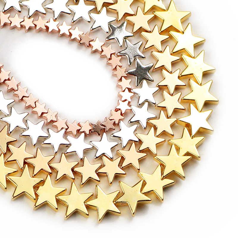 JHNBY 4/6/8mm złoto, srebrna gwiazda kształt hematytu kamień naturalny Spacer luźne koraliki do tworzenia biżuterii 15 ''zestaw do robienia bransoletek naszyjnik