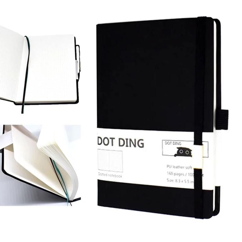 New Arrived Bullet Dotted Journal Paper A5,Leather Softcover, 160 Pages, Ivory White Paper 100 GSM, Notebook Hand-made Diary 4.7