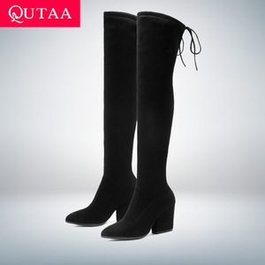 Image 1 - QUTAA/2020 женская обувь; Сапоги выше колена; Осенне зимняя обувь с острым носком; Женские флоковые сапоги на толстом каблуке; Размеры 34 43