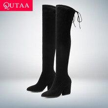 Qutaa 2020 sapatos femininos sobre o joelho botas altas apontou toe outono inverno sapatos femininos hoof saltos rebanho botas femininas tamanho 34 43