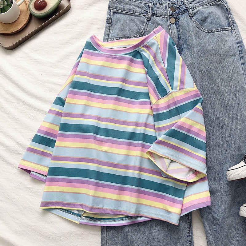 2020 新 tシャツ女性レインボーストライプトップス原宿 tシャツ夏半袖韓国パンク tシャツ bonjean