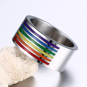 Нержавеющаясталь Радужный Флаг ЛГБТ Радуга, гей кольцо для Для мужчин Для женщин обручальное Lebian гей кольца по оптовой цене