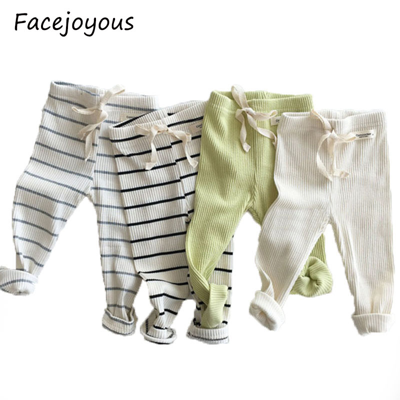 Baby Spring Autumn Clothing New Baby Ribbed Leggings Boys Girls Cotton Big Pp Pants Solid Baby Casual Trousers