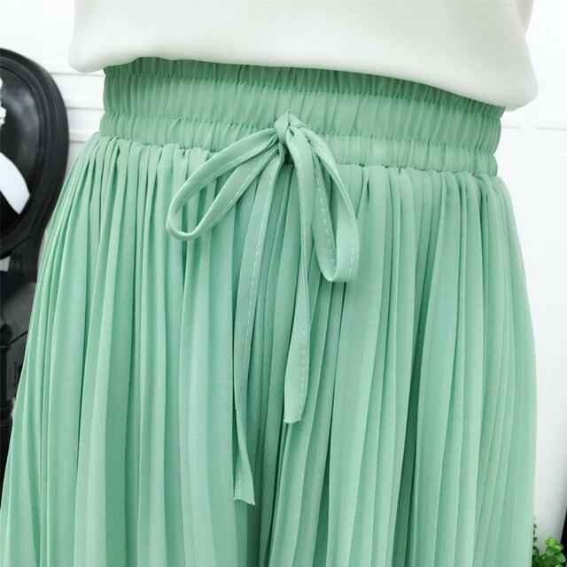 Chiffon Wide Leg Short Femme Trousers Women Loose Lace Up High Waist Knee Length Midi Pleated Summer Shorts Women Capris C7258 6