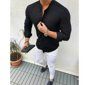 Shirt Formal-Dress Button-Up Business-Work Long-Sleeve Smart White Mens Summer New-Fashion