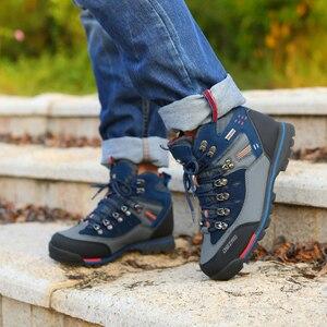 Image 1 - Zapatos de Montañismo hombre impermeable y antideslizante deportes resistente al desgaste cuero masculino Permeable ocio turístico y fácil montaña